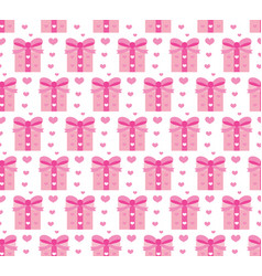 valentines day seamless pattern heart and gifts vector image vector image