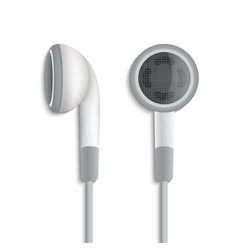 White plug stereo headphones on white background vector image vector image