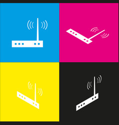 Wifi modem sign white icon with isometric vector
