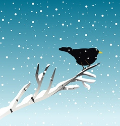 Winter with blackbird on branch vector