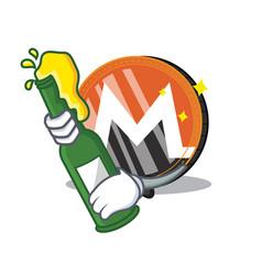 With beer monero coin character cartoon vector