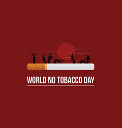 world no tobacco day on red background vector image