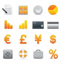 yellow finance icons vector image