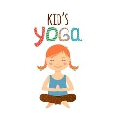 Yoga kids logo design with girl vector image