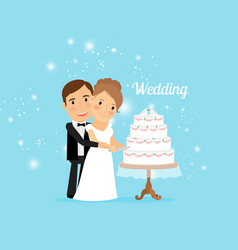 Bride and groom with wedding cake vector
