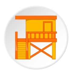 Rescue booth on beach icon cartoon style vector