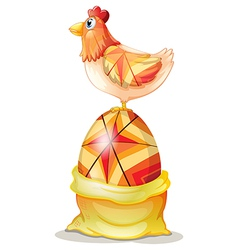 Cartoon hen on egg vector