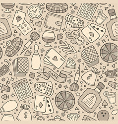 Cartoon hand-drawn casino games seamless pattern vector