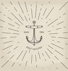 Retro nautical logo template vector