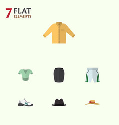 flat dress set of trunks cloth elegant headgear vector image