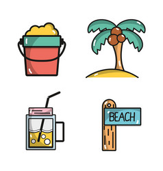 set activities in the summer vacation season vector image