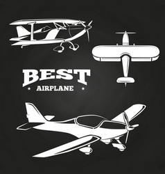 white airplanes collection on chalkboard design vector image