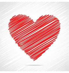 Red sketch heart design vector
