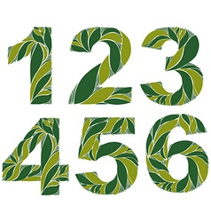 Spring floral numbers decorative eco style digits vector
