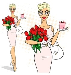 Beautiful woman holding tulips vector