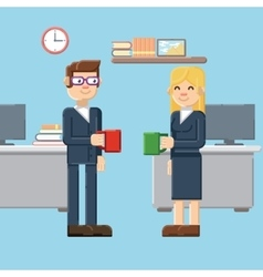 Break male and female characters in the office vector
