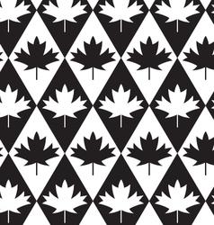 Black and white alternating maple leaves on vector image