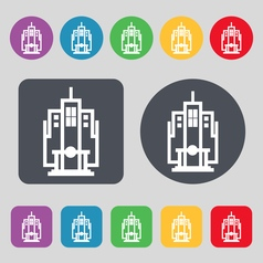 Skyscraper icon sign a set of 12 colored buttons vector