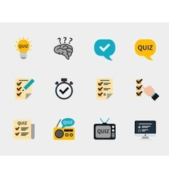 Raffle prizes and quiz flat icons vector