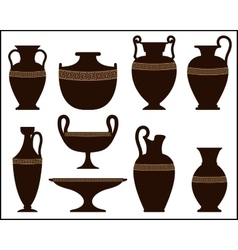 Silhouettes of ancient vases with ornament vector