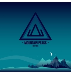 Mountain peaks logo and landscape vector