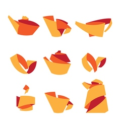 Tea Stylish elements from the folded strips vector image
