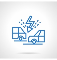 Cars collision blue line icon vector image