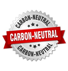 Carbon-neutral 3d silver badge with red ribbon vector