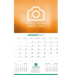 August 2017 wall monthly calendar for 2017 year vector