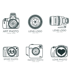 Set of logos with the camera vector