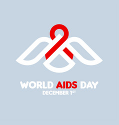 Aids day concept with white bird with red ribbon vector