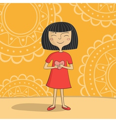 Asian girl with heart vector image vector image