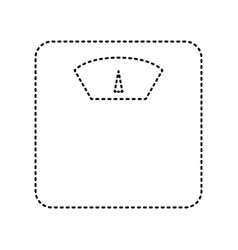 Bathroom scale sign black dashed icon on vector