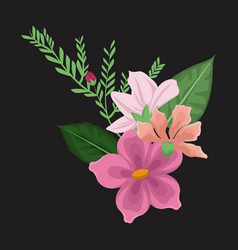 black background with decorative bouquet blossom vector image vector image