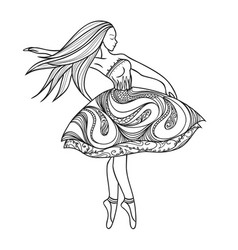 Card dancing girl in a dress anti-paint for vector