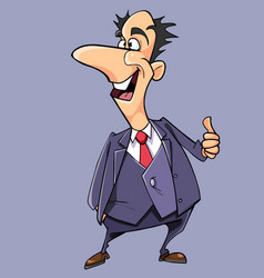 cartoon happy man in suit and tie shows vector image