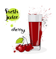Cherry juice fresh hand drawn watercolor fruit and vector