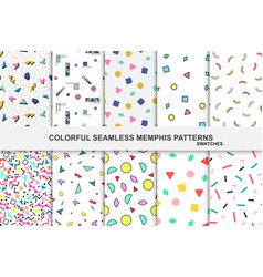 collection of abstract memphis colorful patterns - vector image vector image