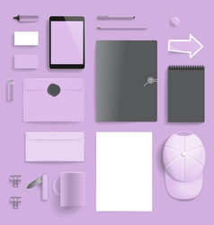 Corporate identity template on purple background vector
