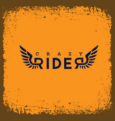 Crazy rider label vector