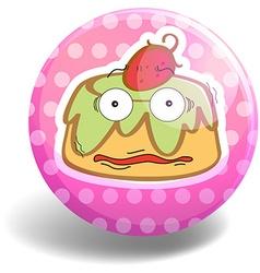 Custard cake on pink badge vector image vector image