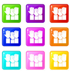 Different people hands raised up set 9 vector
