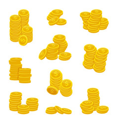 different stacks of golden coins vector image