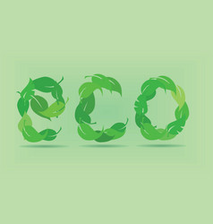 eco word made by green leaves vector image
