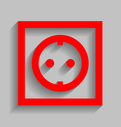 Electrical socket sign red icon with soft vector