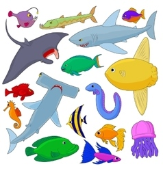 Fish Icons set cartoon style vector image