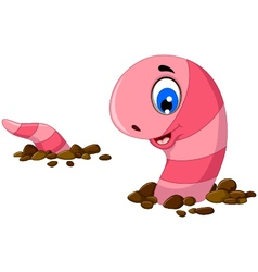 funny worm cartoon on the sand vector image vector image