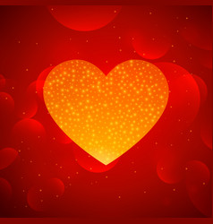 Golden heart on red bokeh background vector