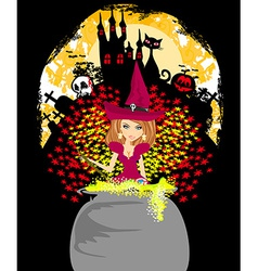 halloween invitation - witch haunted castle skull vector image