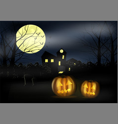 halloween landscape with castle pumkins and vector image vector image